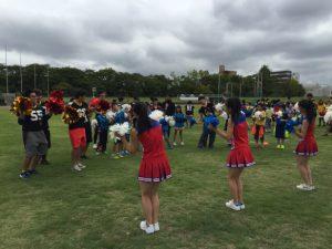 ハーフタイムは郡山商業高校チアリーディング部指導のもと、元気の出るダンス運動に挑戦!